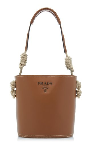 Leather Tambour Bucket Bag