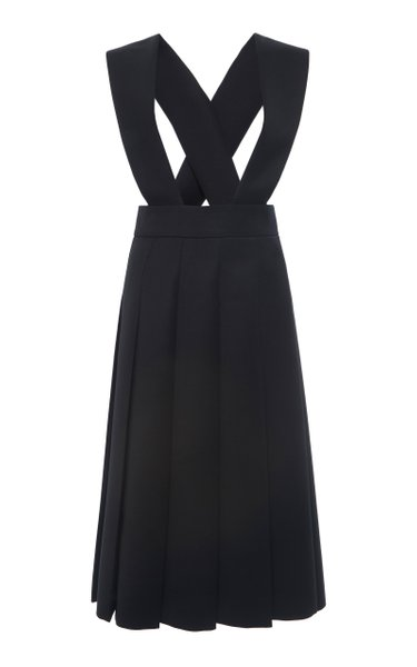 Racerback Pleated Wool Dress