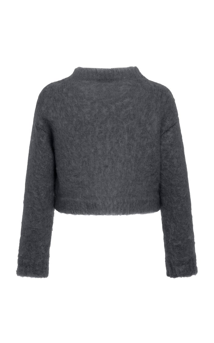 Cropped Mohair-Blend Knit Sweater