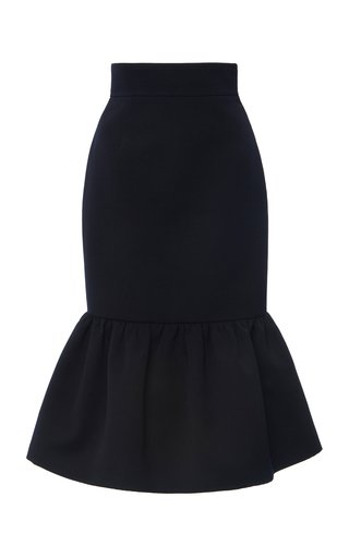 Ruffled Wool Cady Midi Skirt