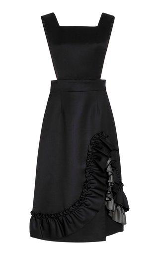 Ruffled Wool Midi Dress