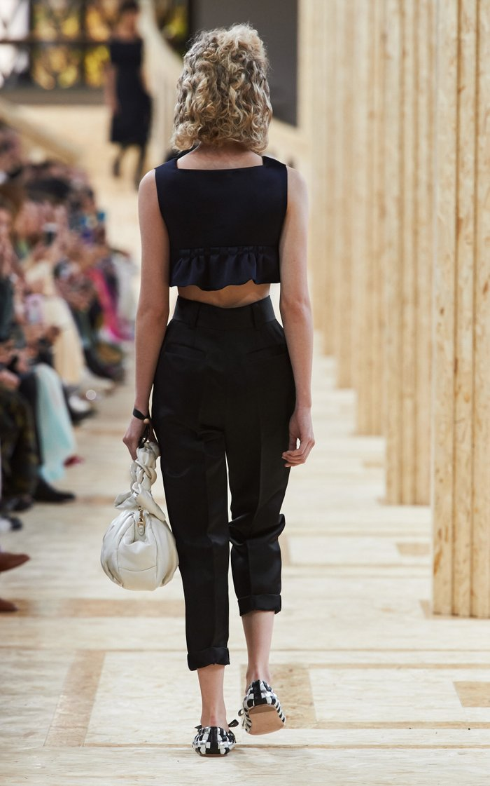 Pleated Wool Cropped Straight-Leg Trousers