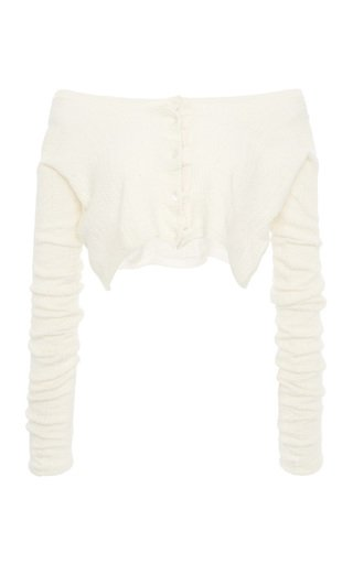 Off-The-Shoulder Ribbed-Knit Cashmere Silk Top