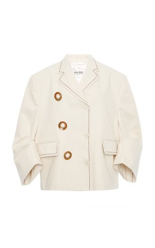Embroidered Puffed-Sleeve Cady Jacket