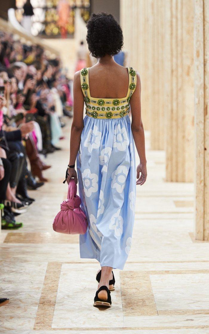 Floral-Embellished Cotton Midi Dress