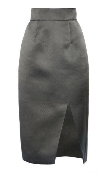 High-Rise Silk Satin Midi Skirt