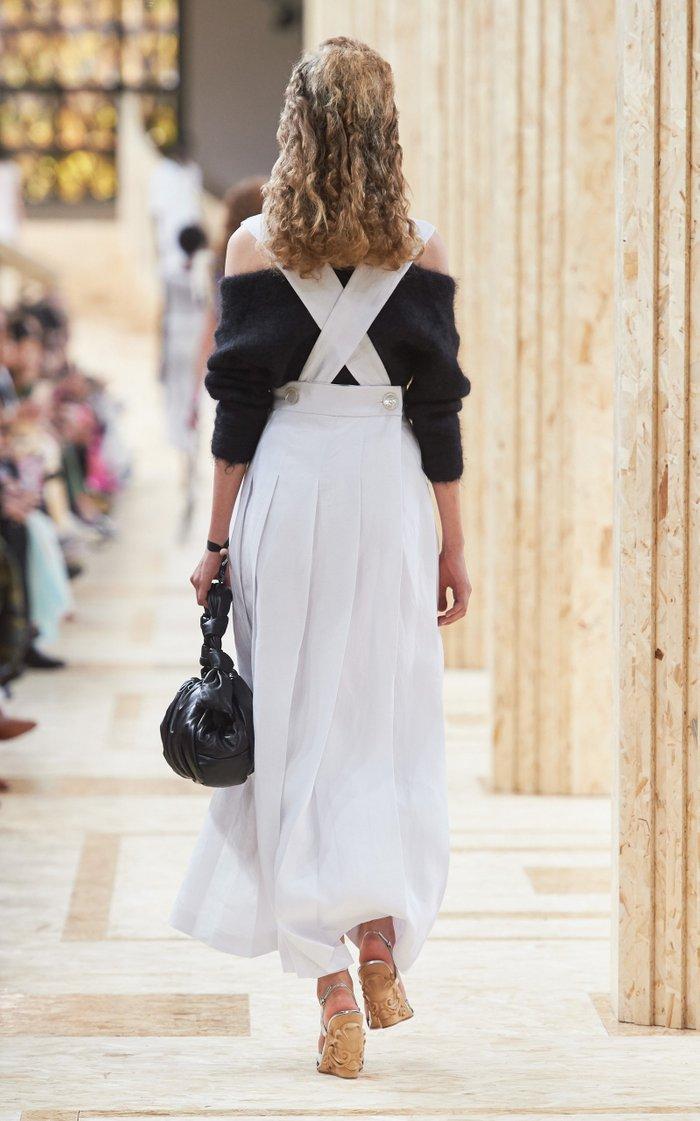 Pleated Linen Pinafore Maxi Dress