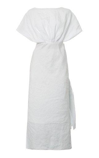 Drape-Detailed Linen Midi Dress