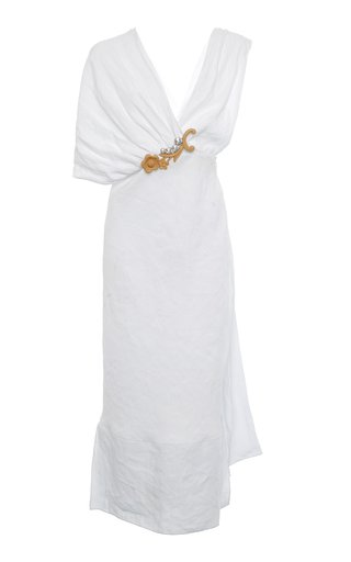 Asymmetric Embroidered Crepe Dress