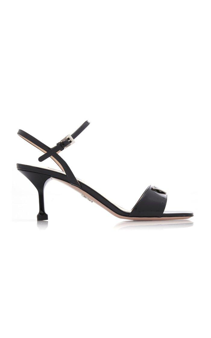 Appliquéd Patent Leather Sandals