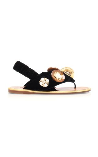 Embellished Velvet Sandals