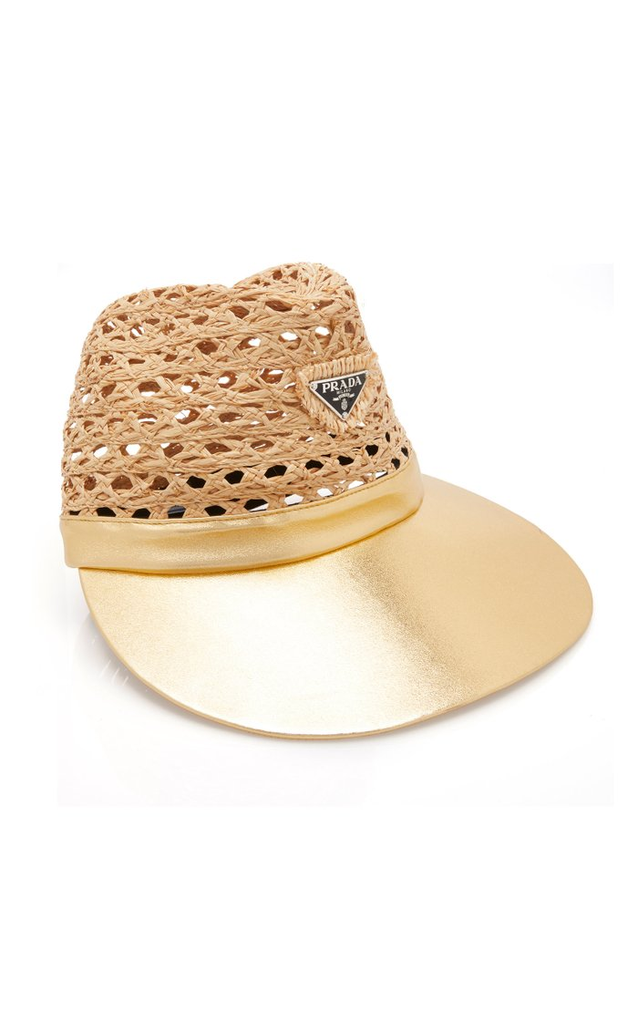 Embellished Leather And Raffia Hat