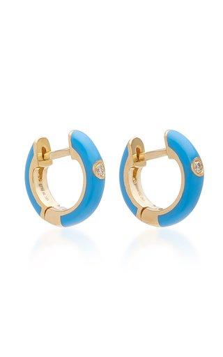 14K Gold and Diamond Blue Enamel Huggie Earrings