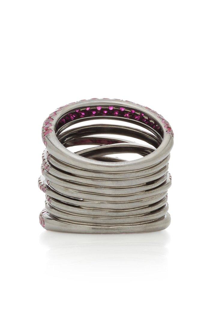 Scribble 18K White-Gold Ruby Ring