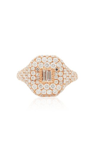 18K Rose Gold Essential Pave Pinky Ring with Baguette Diamond Center