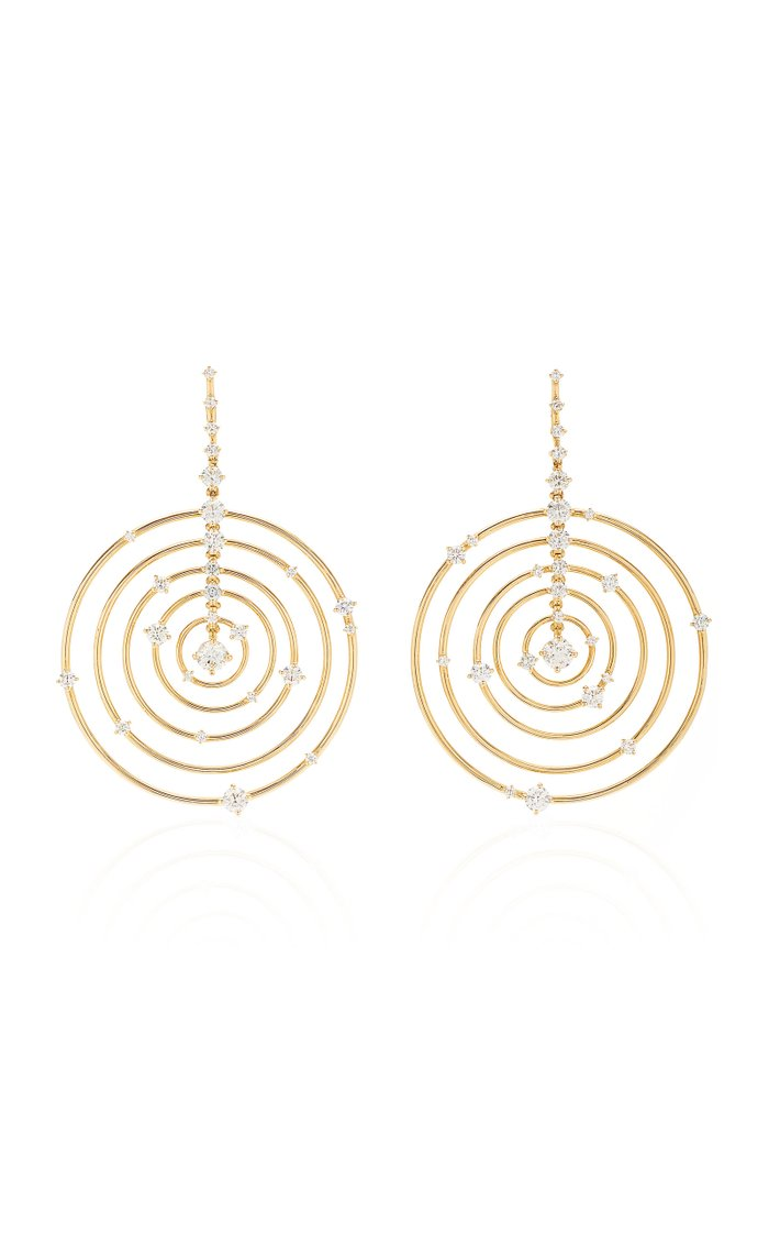 Troupe 18k Yellow-Gold and Diamond Earrings