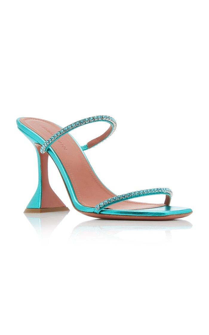 Gilda Crystal-Embellished Metallic Leather Sandals