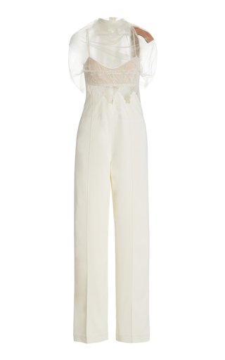 Delilah Tulle and Lace-Trimmed Cady Jumpsuit