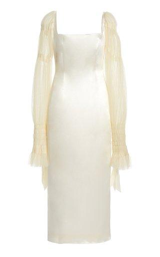 Ruby Tulle-Sleeve Wool-Silk Midi Dress