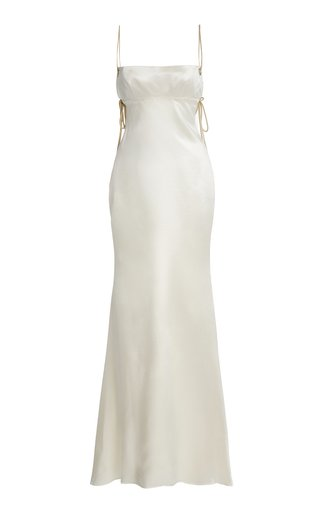 Ava Open-Back Wool-Silk Gown