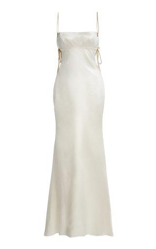 Ava Open-Back Wool-Silk Gown