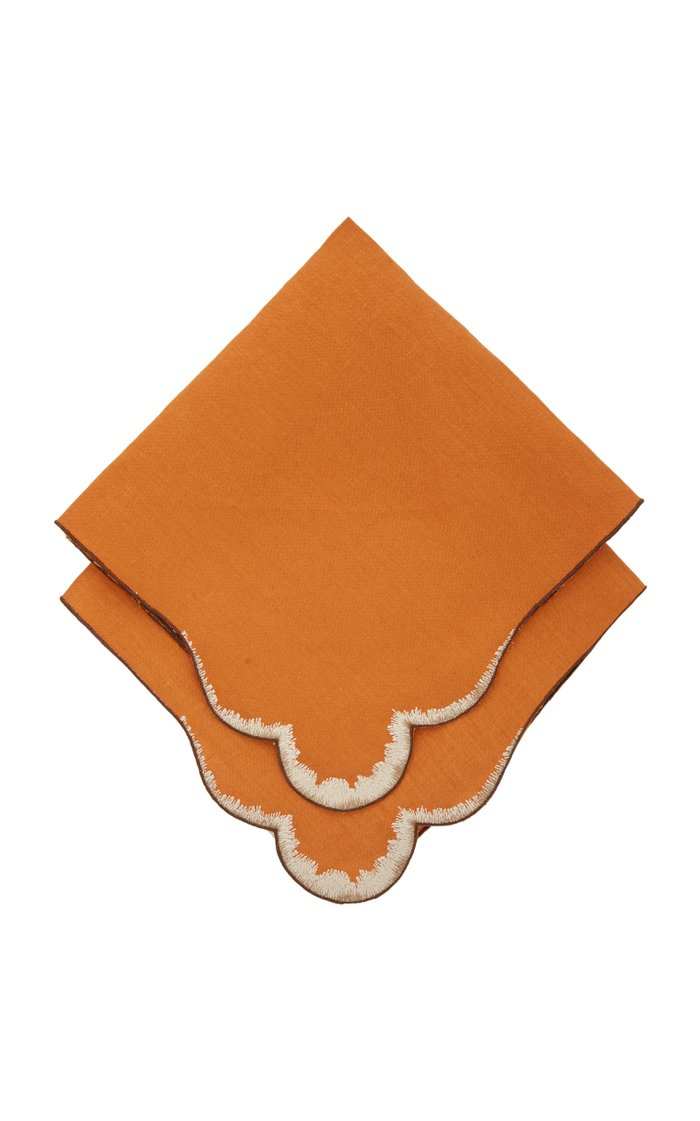 Set-Of-Four Embroidered Linen Napkin