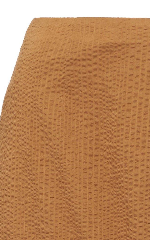Seashell Tie-Detailed Cotton Midi Skirt