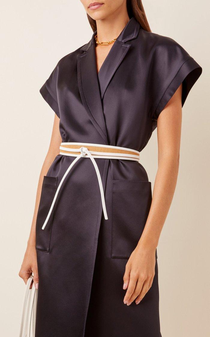 Nappa Leather-Trimmed Corset Belt