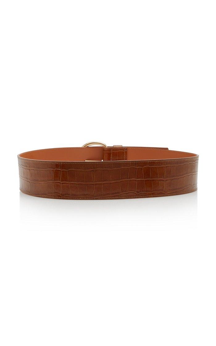 Croc-Effect Leather Corset Belt