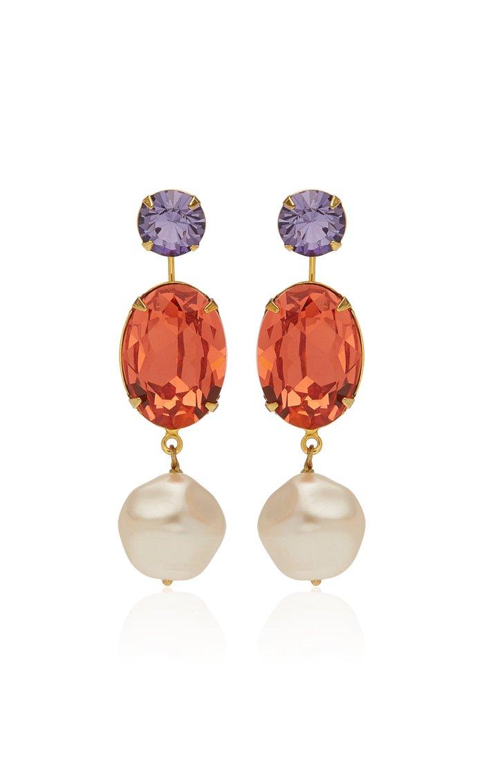 Meredith Swarovski and Pearl Earrings