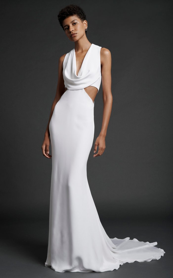 Sleeveless Gown With Cowl At Front Neck And Cut Out At Sides