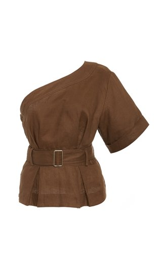 One Shoulder Linen Paper Bag Top