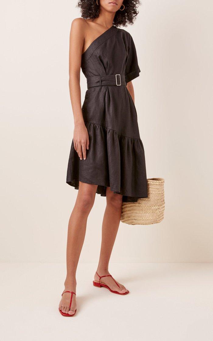 One Shoulder Linen Paper Bag Dress