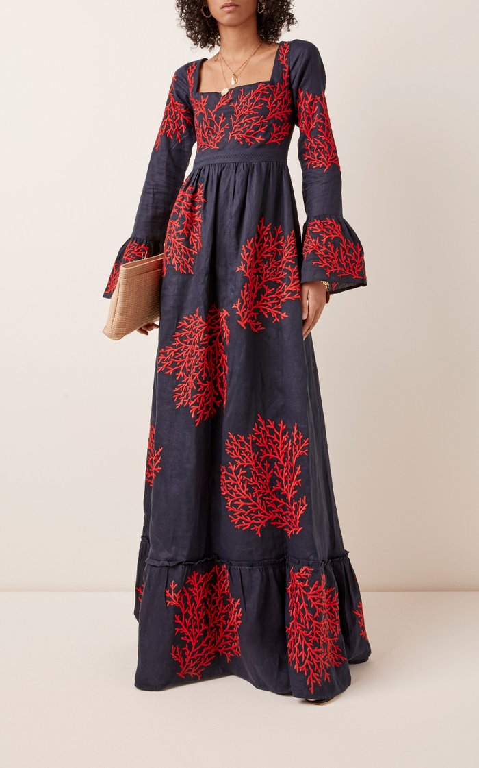 Curuba Coralina Embroidered Linen Maxi Dress