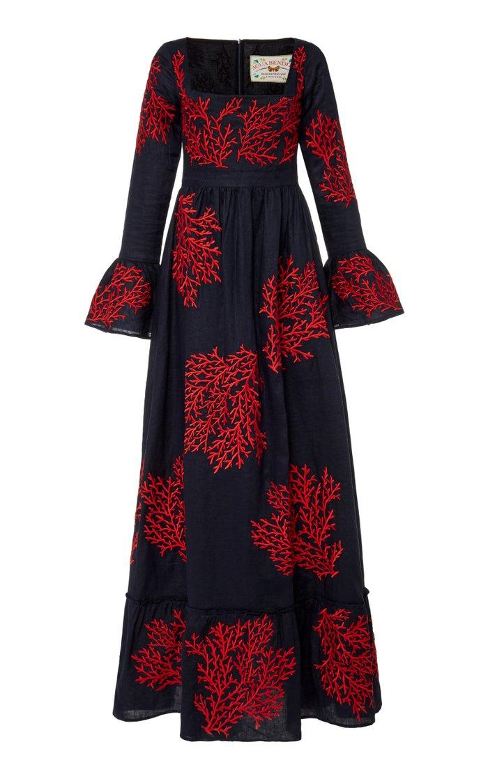 Curuba Coralina Embroidered Linen Maxi Dress