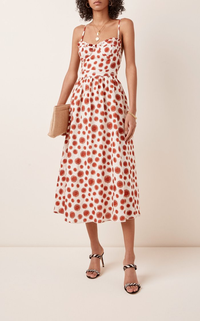 Acacia Erizos Printed Linen Midi Dress