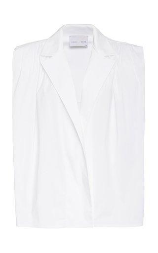 Daphne Padded-Shoulder Open Front Cotton Poplin Shirt