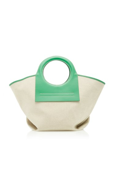 Cala Small Leather-Trimmed Canvas Tote