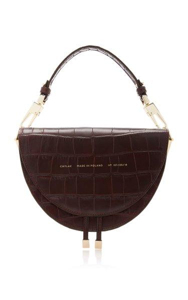 Croc-Effect Leather Shoulder Bag