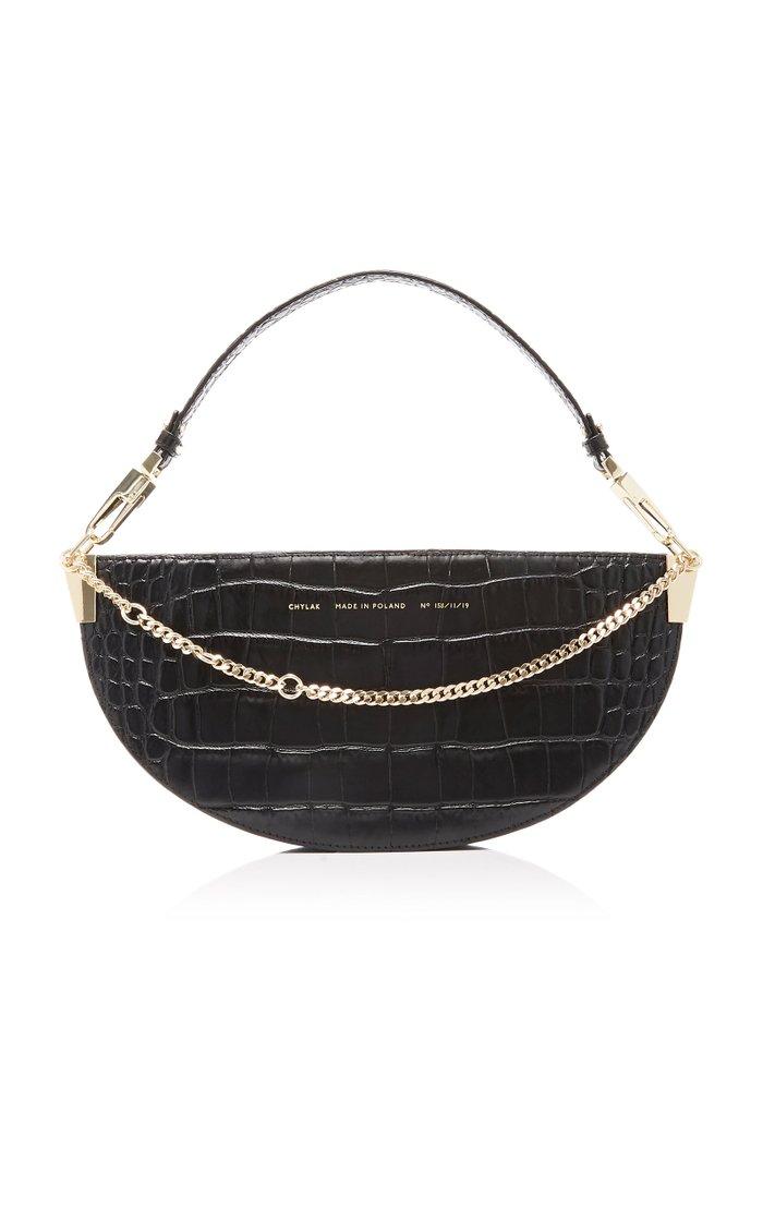 Embellished Croc-Effect Leather Shoulder Bag