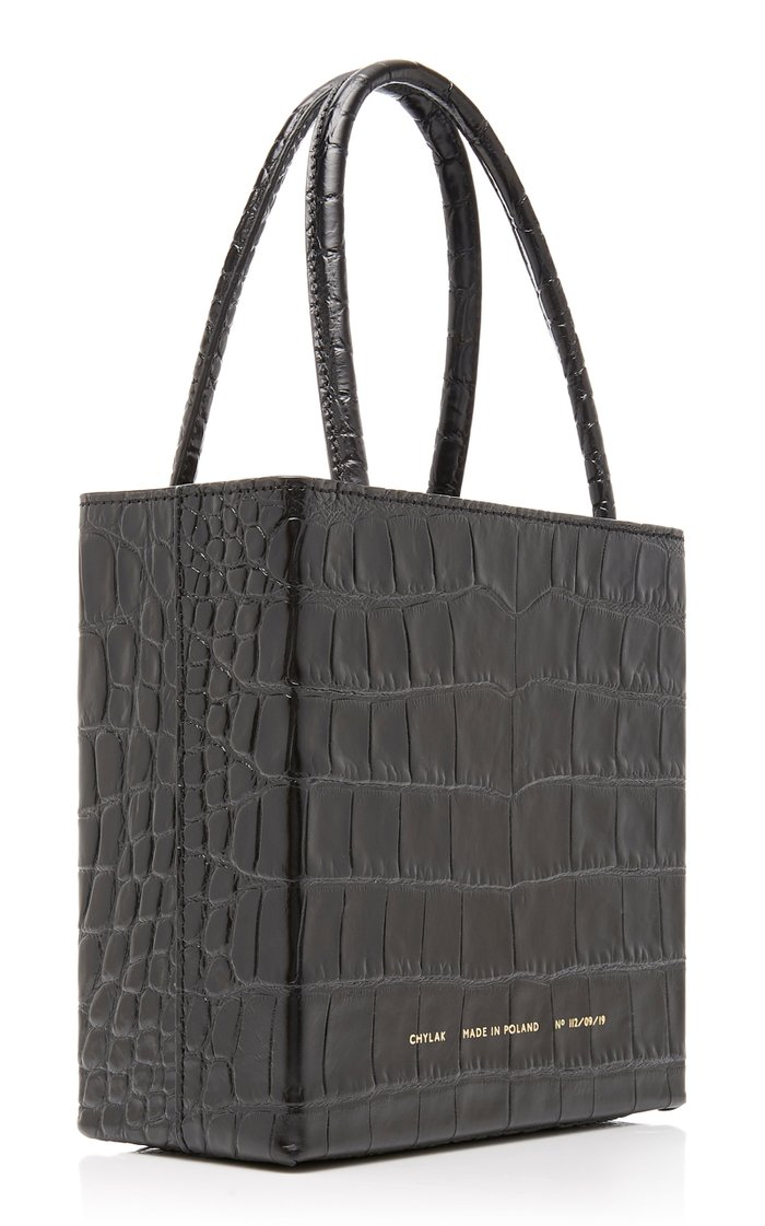Croc-Effect Leather Tote