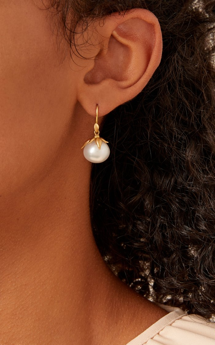 18K Gold And Pearl Earrings