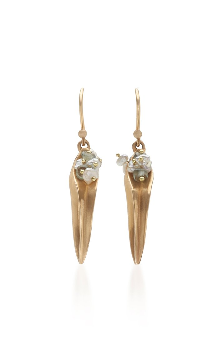 14K Gold, Sapphire And Pearl Earrings