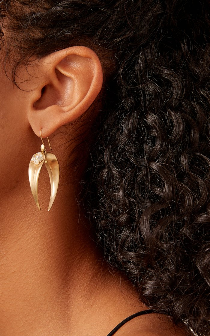 14K Gold, Pearl And Sapphire Earrings
