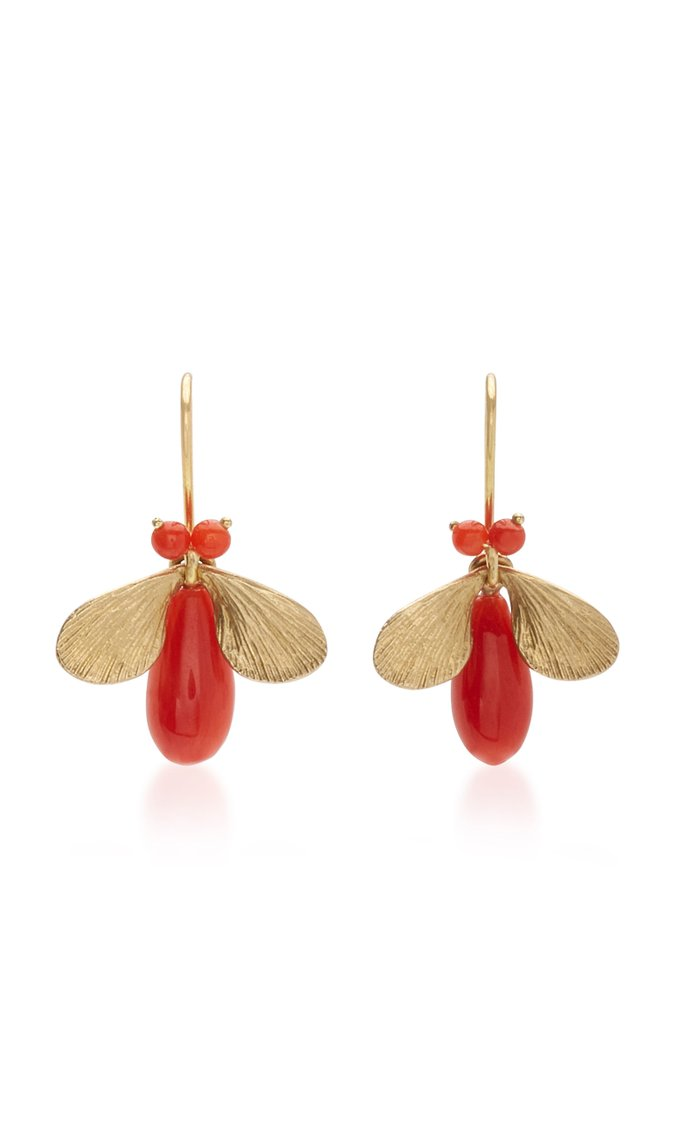 14K Gold And Coral Earrings