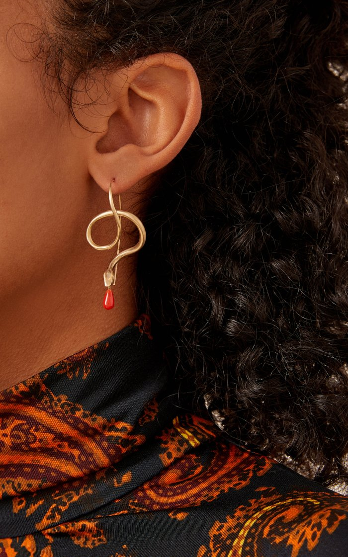 14K Gold, Diamond And Coral Earrings