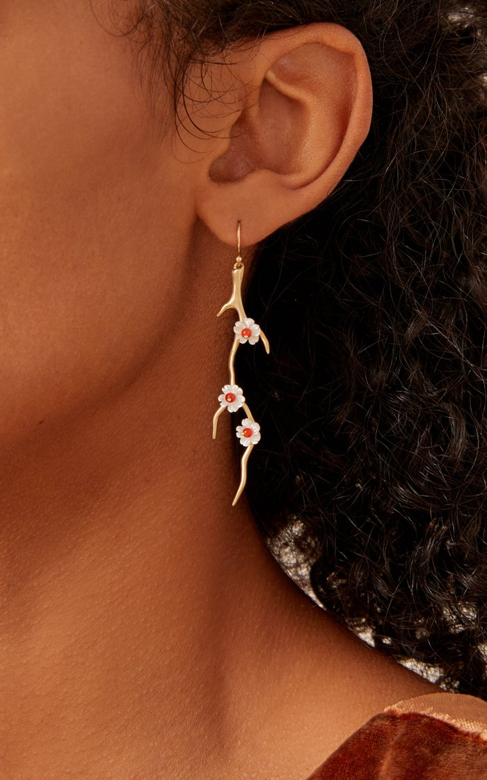 14K Gold, Mother Of Pearl And Coral Earrings