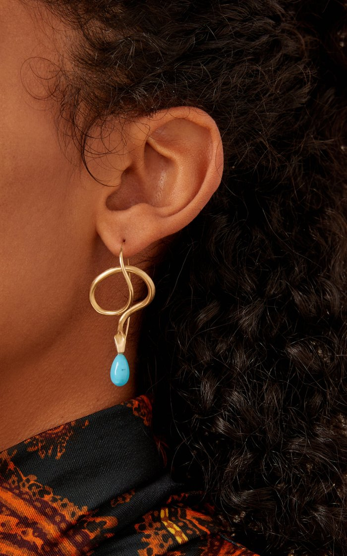 14K Gold, Diamond And Turquoise Earrings