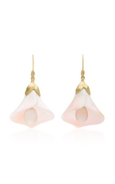 18K Gold, Pearl And Conch Earrings
