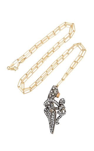 14K Gold, Silver And Diamond Necklace